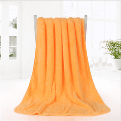 1PCS Solid Colour towel  Bath coral fleece bath towel thickness (Woolen Towel) Orange 70*140cm