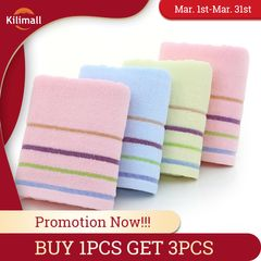 Buy 1PCS Get 3PCS Cotton Face towel Washcloth absorbent towel bathroom towel 4 line kitchen towel Pink+Blue+Yellow 35cm*75cm