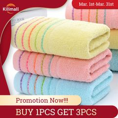Buy 1Pcs Get 3PCS Cotton towel absorbent towel bathroom Face towel Washcloth 5 line kitchen towel Pink+Blue+Yellow 35cm*75cm