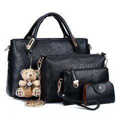4PCS/Set 2020 New Arrival PU Leather Women's Bag Shoulder Bag Handbag for Ladies with High Quality black middle