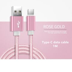 Type-C Data Cable Fast Charging Data Line Charger Cable 1M Pink 1 meter