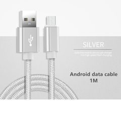 Android Data Cable for SAMSUNG TECNO OPPO VIVO XIAOMI Fast Charging Data Line Micro USB Cable 1M Silver 1 meter