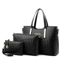 3PCS/Set Women's Handbag for Women Shoulder Bag Tote Crossbody Bag 2020 New Arrival Large Size Weave black large