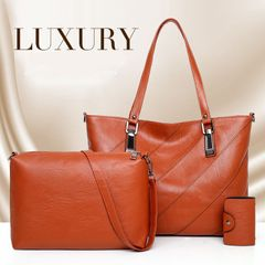 3Pcs/Set Big Discount Women's Handbag Lady Tote Retro Elegant Large Capacity Office Shoulder Bag brown as the picture