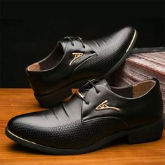 Men's Shoes Official PU Leather Shoes Business Shoes New Fashion Discount On Sale black 42 pu