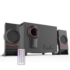 Bluetooth Speaker Woofer Computer Speaker Wireless Stereo System Bass Subwoofer with USB FM TF AUX Black as the picture