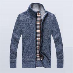 Clothes Men Jacket Men Coat Sweater Men Wear Men Suit Plus Velvet Thickening Warm Blue XXL