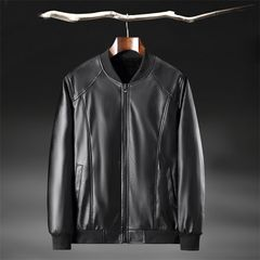Clothes Men Wear Men Jacket Men Coat Men Suit PU Leather Plus Velvet Thickening Warm Black XL