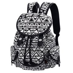 Handbags For Ladies Lady Bags Women Bags Backpack Sling Bags Laptop Retro Canvas black-white as the picture