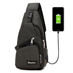 Men Bags For Men Chest Bag School Bag USB Messenger Travel With Headphone Hole Sports Bag Black
