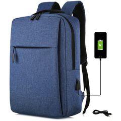 School Bag Backpack for Men Women USB Laptop Bag Notebook Bag Travel Bag Anti-Theft Leisure blue large