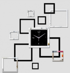 3D wall clock modern design Black