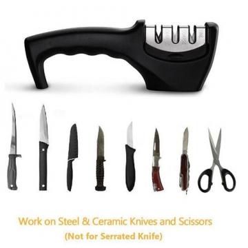 2Pcs Multifunctional fast knife sharpener (3 file mode) Black 8.4*3.4cm