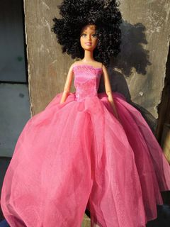 Black african black skin girl curly hair doll 30cm peach 30cm