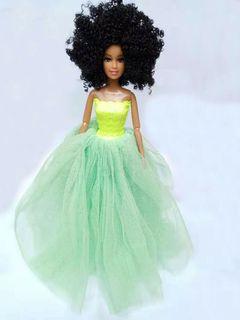 Black african black skin girl curly hair doll 30cm green 30cm