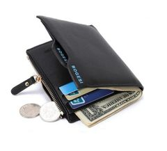J&C Men Short Wallets Paragraph Wallet Business Casual Leather PU Wallets Men Fashion Bag Handbags black one size