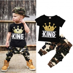 JC Kids Baby Boy Summer Clothing Set Toddler Black Camouflage pant  Outfit Shirt+Pants black 90