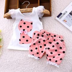 2Pcs Kids Baby Girls clothes Cat Dot Short sleeve shorts kids wear dress maternity infant Clothes pink in white 80