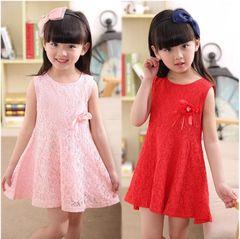 J&C Girl dress kids Wedding Party Birthday Formal Dresses Kids Clothing pink 120