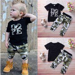JC Baby Boys Clothing Sets T-shirt Dope Print Tops+Camouflage Pants 2pcs Vogue Kids Clothes Suits black 90