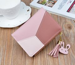 JC Short wallets for women multi-function wallets lady purse and handbags, PU handbag for women pink one size