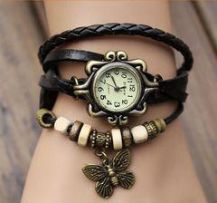JC  women watches retro twist bracelet watch four leaf grass electronic ladies Watches gift black one size