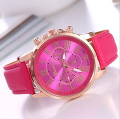 JC 2020 Women Watches Wristwatch Trendy Colorful Ladies Watches bracelet girl watch leather belt rose red one size
