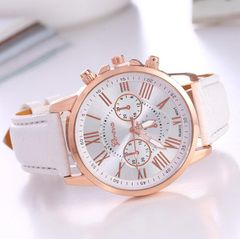JC 2020 Women Watches Wristwatch Trendy Colorful Ladies Watches bracelet girl watch leather belt white+gold one size