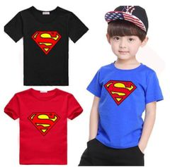 JC Baby Boys Clothes kidsTee Shirt Spuer man Short Sleeve T-Shirts Tops Kids dress wear Clothes Blue 120 cotton