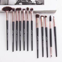 12Pcs/Set women Makeups Brushes bag set eye shadow/Eyeliner ladies beauty tools makeups brushes set Black-