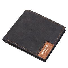 JC new short wallets men fashion casual canvas bag thin soft wallet business men black one size
