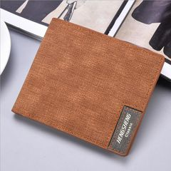 JC new short wallets men fashion casual canvas bag thin soft wallet business men light brown one size