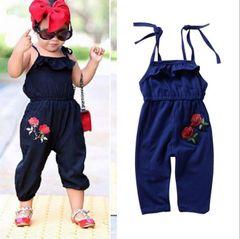 JC Baby Girl Clothes Toddler Kids wear dress Jumpsuit Summer Newborn Infant kids Clothes Maternity royal blue 90