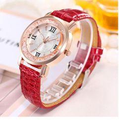 JC Women Watches Ladies Fashion classic Watch with Leather elegant Watches with gift bracelet red one size