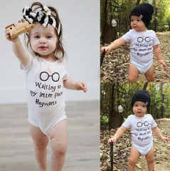 JC Newborn Baby Girls Clothes  Boys Clothing Letter Printed Romper Kids dress wear Toddler Cotton white L