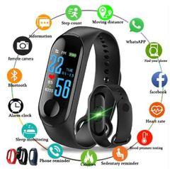 J M3 plus Smartwatches Color Screen wireless phones bluetooth Bracelet Blood Pressure smart watches black one size