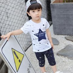 JC Baby Boys Clothes kids T Shirt blue star Short Sleeve T-Shirts Tops Kids dress wear Clothing white + blue 100 cotton