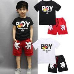 JC Baby Boys Clothes kidsTee Shirt Korean Cartoon Short Sleeve T-Shirts Tops Kids dress wear Clothes black + red 120 cotton