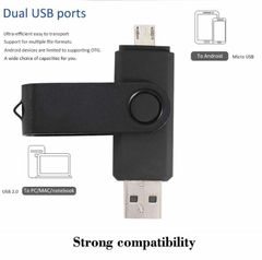 JC 2 in 1 Rotate OTG +USB pendrive Micro USB flash drive phones computer Android plug flashdisk disk black / blue / purple 2 in 1 64gb