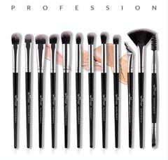 12Pcs/Set women Makeups Brushes bag set eye shadow/Eyeliner ladies beauty tools makeups brushes set sliver + black