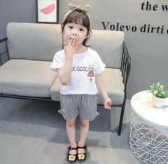 2020 2Pcs Kids Baby Girls clothes Plaid Short sleeve shorts kids wear dress maternity infant Clothes black 100cm