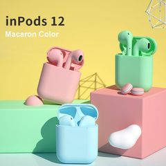 i12 TWS Macaronian Bluetooth Earphones Wireless Popup Airpods phones Samsung Android pods pink