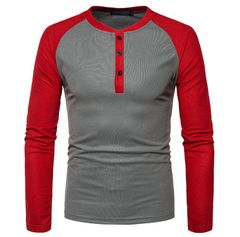JC 2020 New Fashion Brand Men Clothes Long Sleeve T-shirts Patchwork T shirt Men Casual Mens polos red + iron grey xxl 80-88kg cotton + polyester