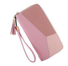 JC New women wallets ladies handbags women long paragraph leather wallets Purse for girls women pink 20cm*10cm*2.5cm