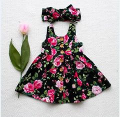 JC Baby Girls Clothing Toddler Kids wear dresses skirt Jumpsuit Newborn kids Clothes Maternity black with flowers 90cm