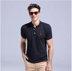 JC Mens clothes Summer 100% Cotton Polo Shirt Men clothing Short Sleeve Casual Mens Shirts Polos Black XXL cotton + polyester