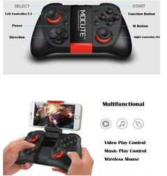 JC Video Games Bluetooth Gamepad Joystick Portable Wireless Game Controller Support Android iPhone Black