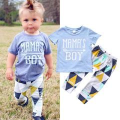 JC Baby Boys Clothes kids T-Shirt Short Sleeve Toddler Outfit Long Pants dresses wear Clothing blue + colorful 100cm