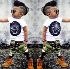 JC Baby Boys Clothes kids T-Shirt Short Sleeve Toddler Outfit Long Pants dresses wear Clothing white + green 90cm