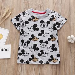 JC Baby Boys Clothes kids Tee Shirt Cartoon Mouse Short Sleeve T-Shirts Tops Kids dress wear Clothes grey and black 120cm cotton